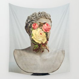 Bust With Flowers Wall Tapestry