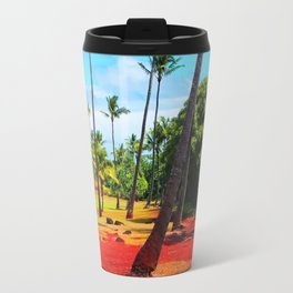palm trees with green tree and blue cloudy sky in summer Travel Mug