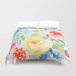 Watercolor Abstract Floral Pattern Ranunculus  Duvet Cover