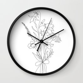 Small Wildflowers Minimalist Line Art Wall Clock