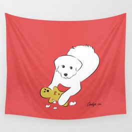 Gingerbread Gets It - Great Pyrenees Humor Wall Tapestry