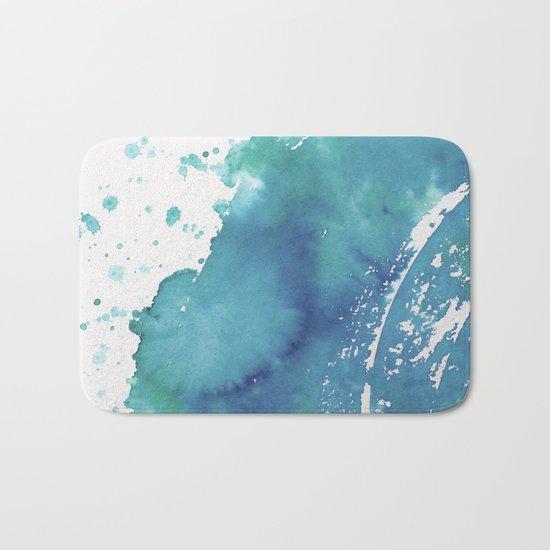 BLUE + GREEN WATERCOLOUR LAYER AND SPLATTER Bath Mat