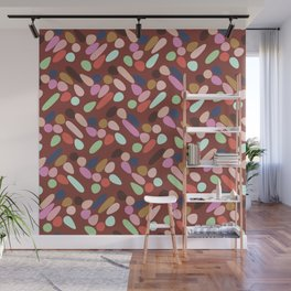 Dancing Shapes Pattern Multicolored Red Wall Mural