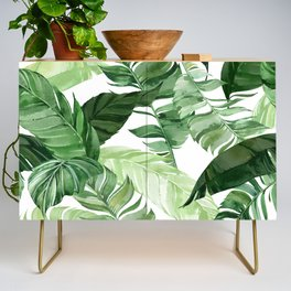 Green leaf watercolor pattern Credenza