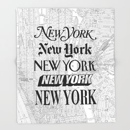 New York City black and white New York poster I love heart NYC Design black-white home wall decor Throw Blanket