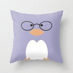 Nerdy Penguin  Throw Pillow