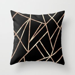 Classic Black Rose Gold Geo #1 #geometric #decor #art #society6 Throw Pillow
