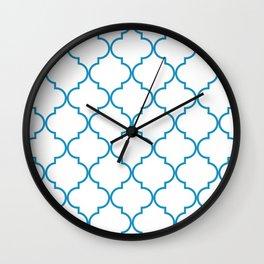 Quatrefoil - Cerulean on White Wall Clock