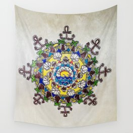 Colorful Beach Mandala on Wood Wall Tapestry
