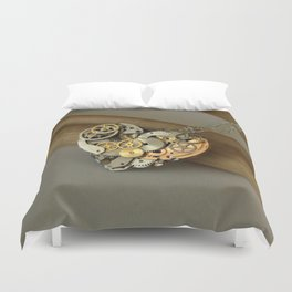 Steampunk Heart of Gold and Silver Duvet Cover
