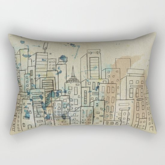 Sketch of buildings in a city that doesn't exist Rectangular Pillow