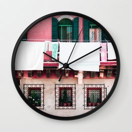 Laundry Day in Venice Wall Clock