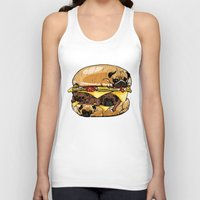 burger Tank Tops featuring Pugs Burger by Huebucket