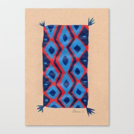 Fire and Cobalt Aztec Rug Canvas Print