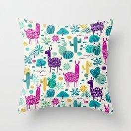 Llama desert turquoise/purple Throw Pillow