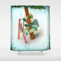 ski Shower Curtains featuring Why Unicorn Don't Ski by That's So Unicorny