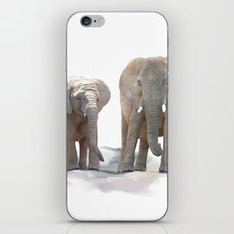 Digital Painting of  Mother and Baby Elephants iPhone Skin
