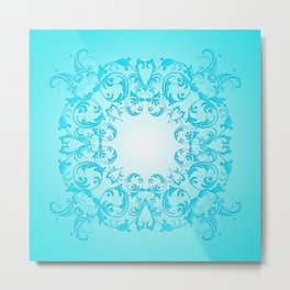 Baroque style turquoise floral texture Metal Print