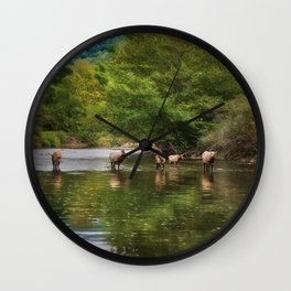 Elk in the River Wall Clock