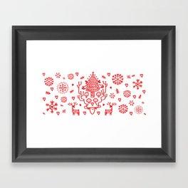 Xmas Tree and Chief Deer Framed Art Print