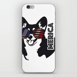 Merica Memorial Day Dog Funny American Flag iPhone Skin