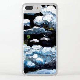 Clouds over black sky Clear iPhone Case