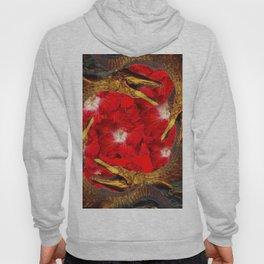 RED BLOODY HIBISCUS FLOWERS ALLIGATORS GOLD ART Hoody