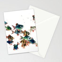 Barb Fish, Aquatic Blue Turquoise Underwater Scene Stationery Cards