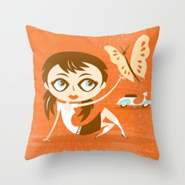Scooter Girl Throw Pillow