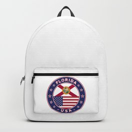Florida, Florida t-shirt, Florida sticker, circle, Florida flag, white bg Backpack