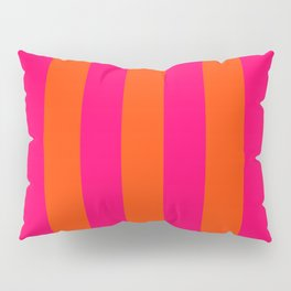 Bright Neon Pink and Orange Vertical Cabana Tent Stripes Pillow Sham