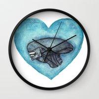 xenomorph Wall Clocks featuring Xenomorph Love by Marina Rose