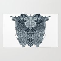 shield Area & Throw Rugs featuring Winged shield by Tshirt-Factory