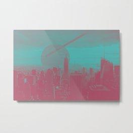 New York Skyline Pink and Teal Geometry Metal Print