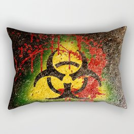 Bio-hazard Contagion Zombie Apocalypse Blood Splatter Graffiti Rectangular Pillow