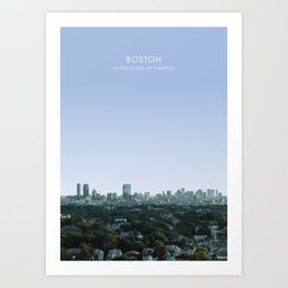 Boston Skyline, USA Travel Artwork Art Print