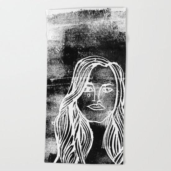 untitled girl Beach Towel