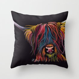 Scottish Hairy Highland Cow ' SWEET P ' by Shirley MacArthur Throw Pillow