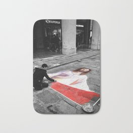 Street Art in Bologna Black and White Photography Color Bath Mat