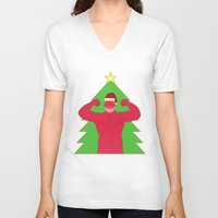 santa V-neck T-shirts featuring Santa by Mavekk
