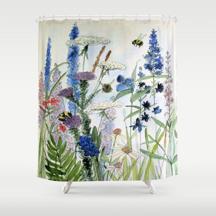 Wildflower in Garden Watercolor Flower Illustration Painting Duschvorhang