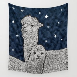 Alpacas on a starry night Wall Tapestry