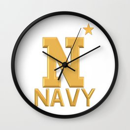Navy Star Gold Logo Wall Clock