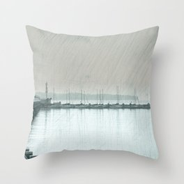 Stormy Day at the Beach Throw Pillow