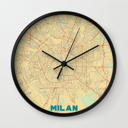 Milan Map Retro Wall Clock