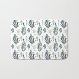 turquoise fern pattern Bath Mat