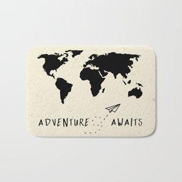 Adventure Map - Vintage Black Bath Mat