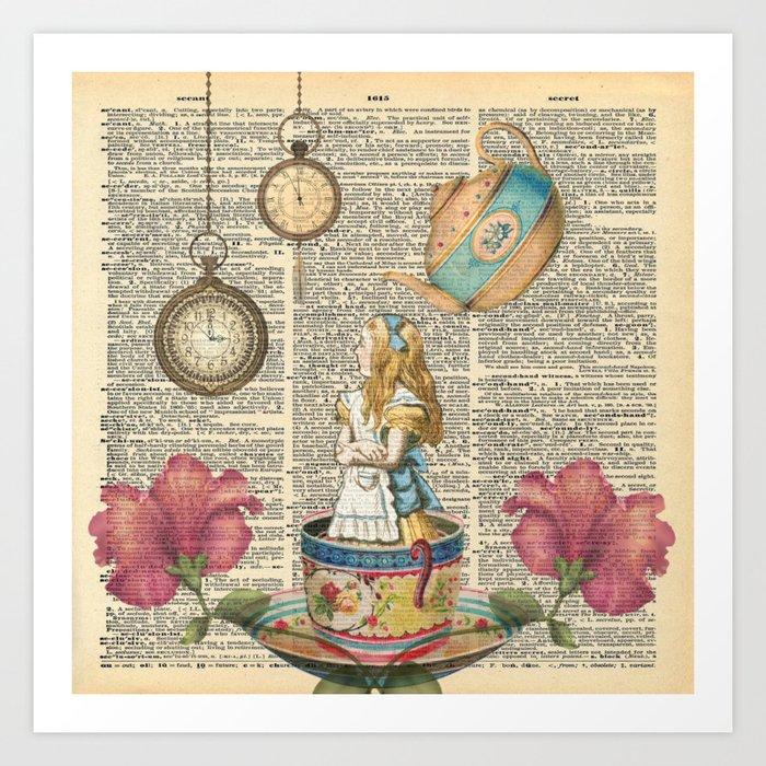 It's Always Tea Time - Alice In Wonderland Art Print