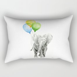 Elephant Watercolor Baby Animal with Balloons Blue Yellow Green Rectangular Pillow