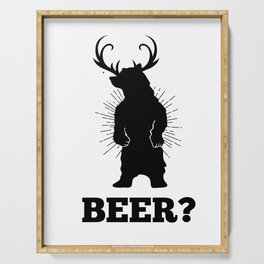 Beer Bear Deer pun funny party gift Serving Tray